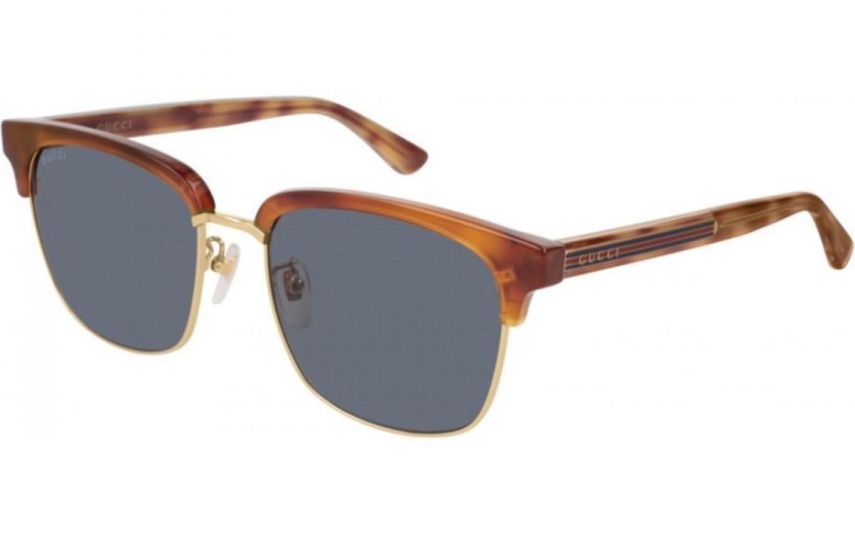 Gucci GG0382S 005 havana-blue 56, 222,08€, Occhiali Gucci Marrone a forma Rettangolare