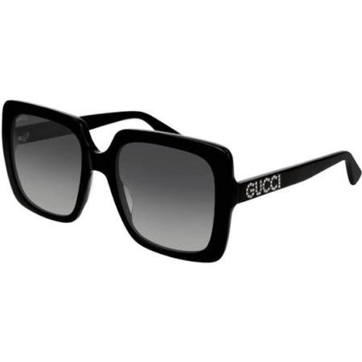 Gucci GG0418S Colore 001 black, 216,99€, Occhiali Gucci Nero a forma Squadrato