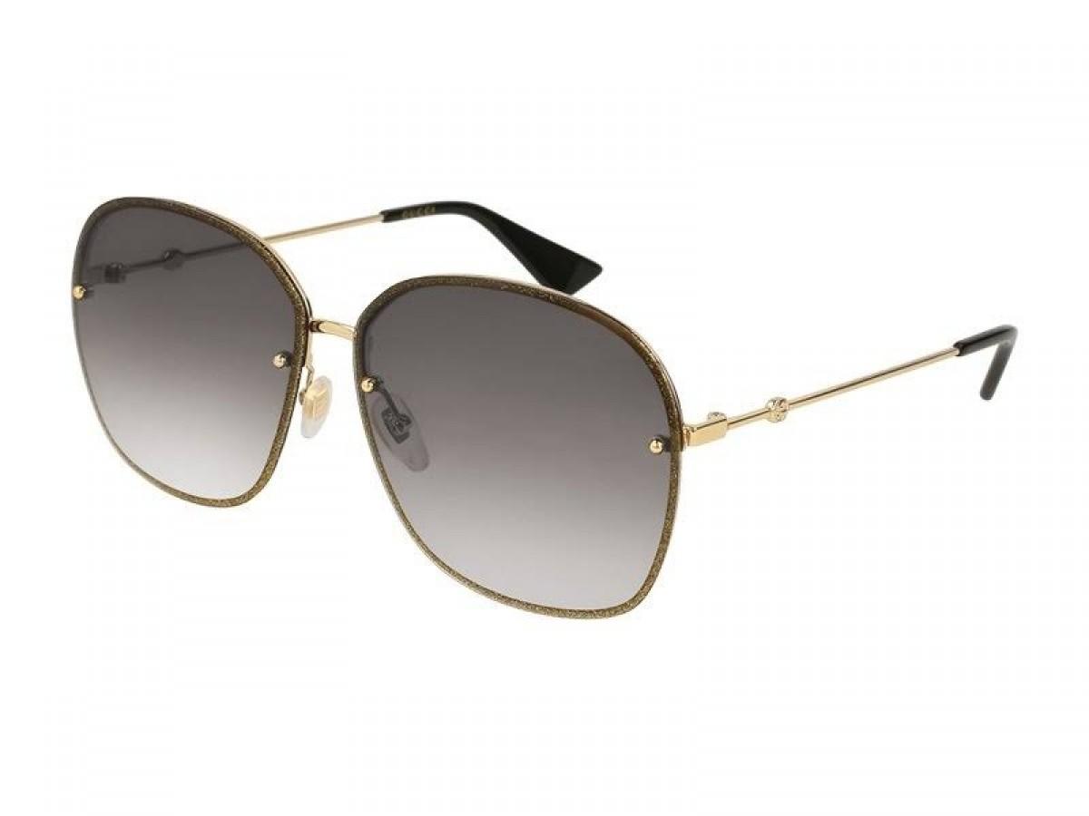 Gucci GG0228S 002, 256,00€, Occhiali Gucci Oro a forma Squadrato