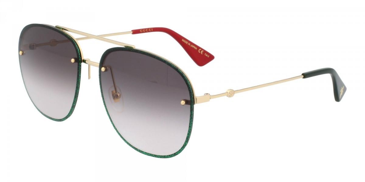 Gucci GG0227S 001, 202,99€, Occhiali Gucci Oro a forma Rettangolare