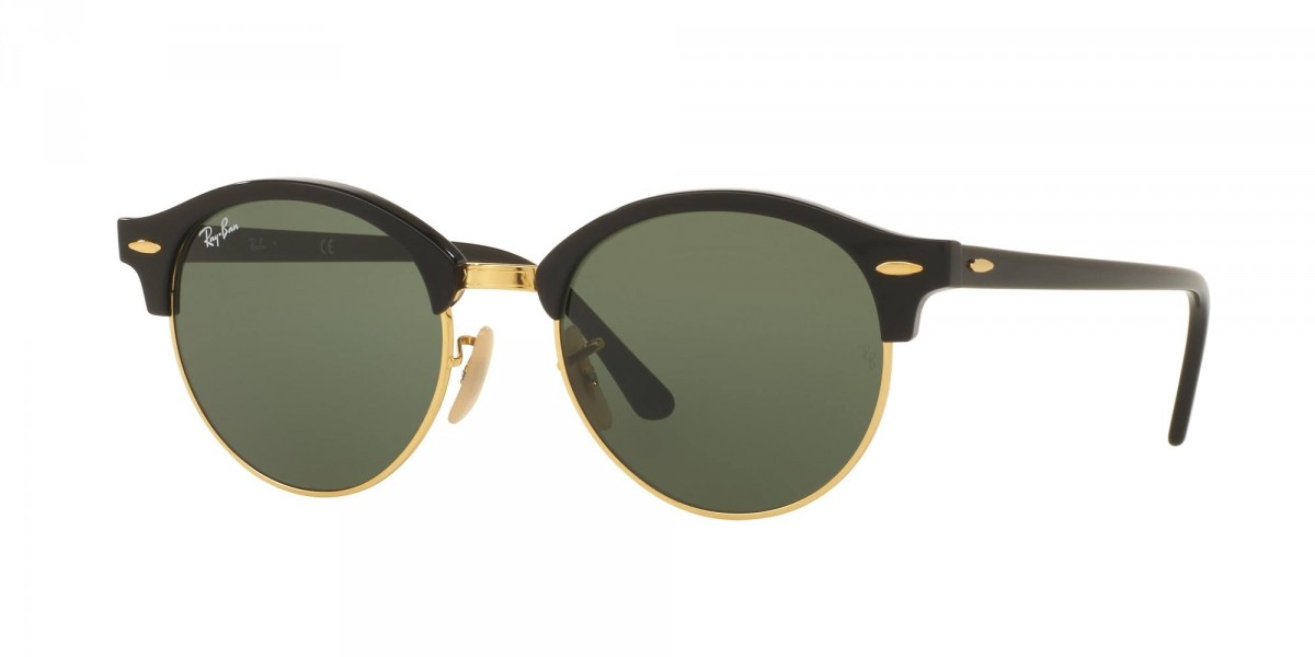 Ray-Ban Clubround Classic RB4246 901 51, 90,89 €, Occhiali Ray Ban Nero a forma Rotondo