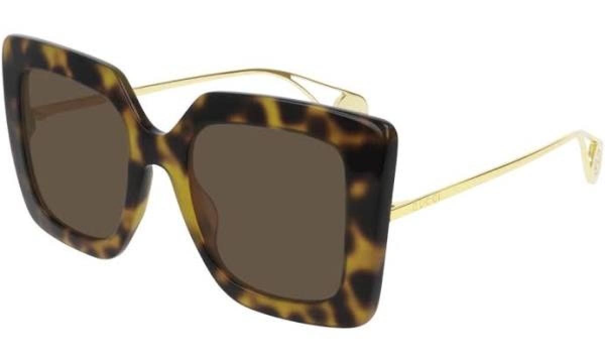 Gucci GG0435S 003 51, 230,00€, Occhiali Gucci Marrone a forma Farfalla