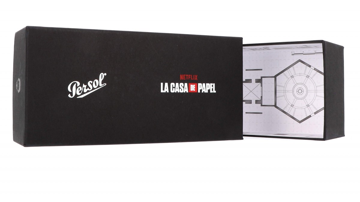 Persol 3235S 95/S3 55 EL PROFESOR SERGIO CASA DE PAPEL, 255,00€, Occhiali Persol Nero a forma Goccia aviator