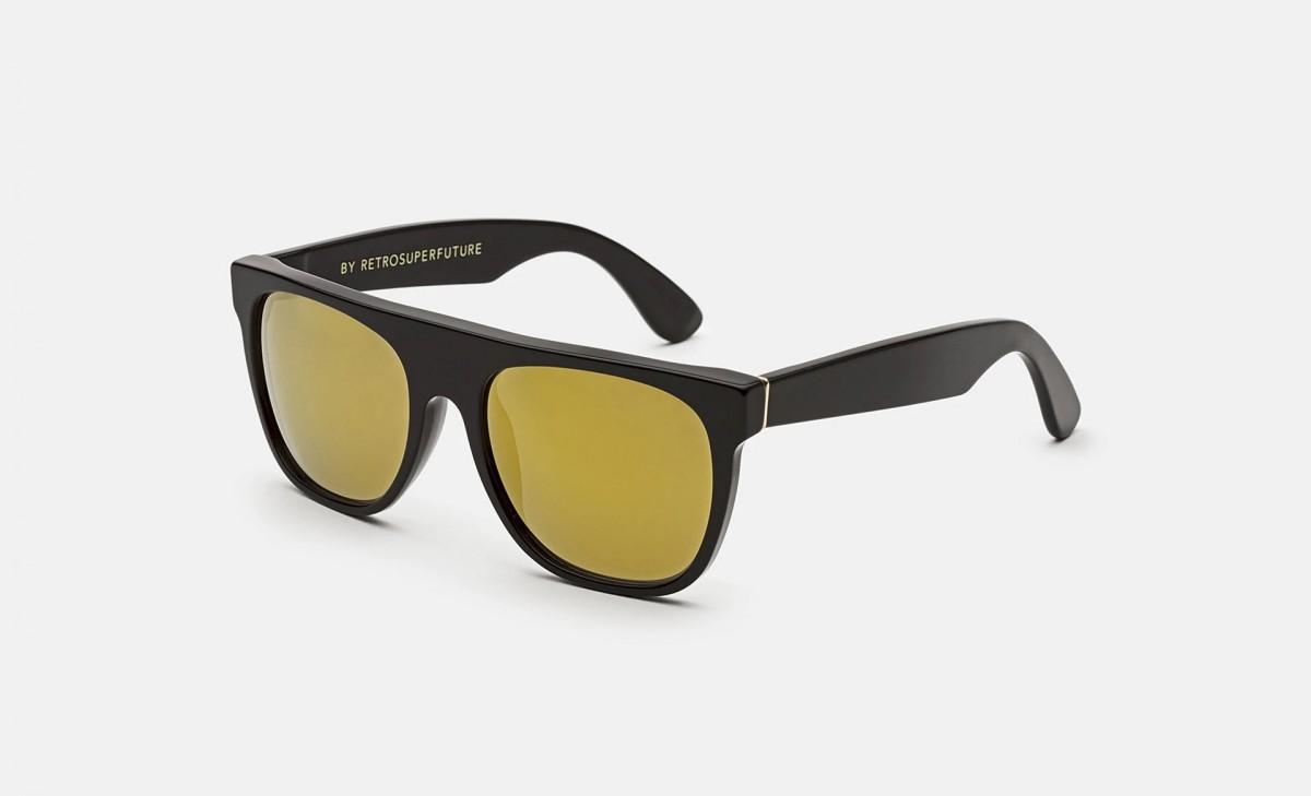 Super Flat Top Black 24K, 180,00€, Occhiali Super Nero a forma Rettangolare