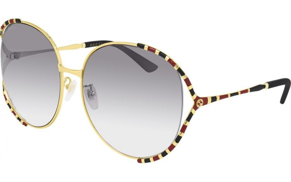 Gucci GG0595S 006 64, 350,00€, Occhiali Gucci Oro a forma Farfalla
